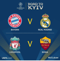 The Champions League Semi-Final is set! Who do you think will be meeting up in this years final? 👇⚽️🤔 https://t.co/LwITnYKNn5: ROAD TO  CHAMPIONS  LEAGUE  BAYERN  REAL MADRID  YOU'LL NEVERWALK ALONE  LIVERPOOL  FOOTBALL CLUB  ROMA  1927  EST 1892  LIVERPOOL  ROMA  UEFA.com  The Champions League Semi-Final is set! Who do you think will be meeting up in this years final? 👇⚽️🤔 https://t.co/LwITnYKNn5