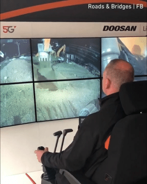Imagine sitting at home in your pyjamas operating a jobsite in the other part of the world.  By Roads & Bridges: Roads & Bridges FB  5G  DOOSAN Li Imagine sitting at home in your pyjamas operating a jobsite in the other part of the world.  By Roads & Bridges