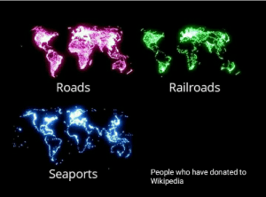 Poor Wikipedia: Roads  Railroads  People who have donated to  Wikipedia  Seaports Poor Wikipedia