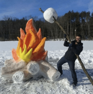 Roasting a giant marshmallow: Roasting a giant marshmallow