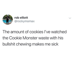 from twitter.com/rockymomax: rob elliott  @rockymomax  The amount of cookies I've watched  the Cookie Monster waste with his  bullshit chewing makes me sick from twitter.com/rockymomax