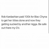 These hoes ain't loyal: Rob Kardashian paid 100k for Blac Chyna  to get her titties done and now they  getting sucked by another nigga. Be safe  out there my G's These hoes ain't loyal