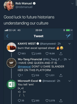 me irl: Rob Manuel $  @robmanuel  Good luck to future historians  understanding our culture  ll 02-UK 4G  20:04  Tweet  KANYE WEST @kanyewest 2h  burn that excel spread sheet  0  563 t03,465 16.8K  Wu-Tang Financial @Wu-Tang-F.., . 2h ﹀  @msexcel DONT U DARE SLANDER  WI HAVE ONE QUEEN AND IT IS  DIVERS  HER ON THIS PLATFORM  1159 1,031  Microsoft Excel  You tell 'em!  @msexcel 2h me irl