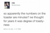 "Apparently, Meme, and Tumblr: rob  @robmhan  so apparently the numbers on the  toaster are minutes? ive thought  for years it was degree of toasty-  ness  2014-12-02, 1:17 PM <p>Numbers On The Toaster.<br/><a href=""http://daily-meme.tumblr.com""><span style=""color: #0000cd;""><a href=""http://daily-meme.tumblr.com/"">http://daily-meme.tumblr.com/</a></span></a></p>"