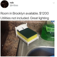 Apple, Funny, and Brooklyn: rob  @rribss  Room in Brooklyn available. $1200  Utilities not included. Great lighting  ANT  EANS MO  DISH  apple Still better than my 1 bdr 😩