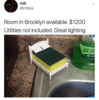 Apple, Be Like, and Memes: rob  @rribss  Room in Brooklyn available. $1200  Utilities not included. Great lighting  ANT  EANS MO  e DIS  apple Rent be like.. 😩💯 WSHH