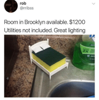 Apple, Be Like, and Brooklyn: rob  @rribss  Room in Brooklyn available. $1200  Utilities not included. Great lighting  ANT  LEANS MO  DIS  apple Rent be like.. 😩💯 https://t.co/hdiI7983FZ