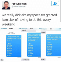 Memes, MySpace, and Phone: rob whisman  @robwhisman  we really did take myspace for granted  i am sick of having to do this every  weekend  Messages Blake  Deta Messages Jacob  De Messages  Eric  Det  s man  Message  Today 4:48 PM  I guess  Thanks for the ride  last night man. You're  up to #2  Blake gave me a ride  from McCarthy's las  night. Maybe you  should've answered  your phone  Blake's very close to  replacing you. Let me  borrow your truck  1. Eric  2. Blake  3. Jacob  4. Caleb  5. Keith  6. Sam  7. Jared  8. Matt  1. Eric  2. Blake  3. Jacob  4. Caleb  5. Keith  6. Sam  7. Jared  8. Matt  1. Eric  2. Blake  3. Jacob  4. Caleb  5. Keith  6. Sam  7. Jared  8. Matt  Delivere  Delive  Deliver  Ok  I don't care  What? Every social network should bring back the top 8