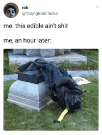 <p>I feel nothing (via /r/BlackPeopleTwitter)</p>: rob  @YoungRobFlacko  me: this edible ain't shit  me, an hour later: <p>I feel nothing (via /r/BlackPeopleTwitter)</p>