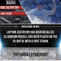 Strange injury came out of nowhere. Zastryzny has been injured for a while but let's hope he can return and provide the stuff he flashed last year. - @CubsNation2017 @CubsCoverage @Cubs_Fanzone @Athletics.Report: ROB ZASTRYZNY  LHP | #29  BREAKING NEWS  LHP ROB ZASTRYZNY HAS BEEN RECALLED  SS ADDISON RUSSELL HAS BEEN PLACED ON THE  10-DAY DL WITH A FOOT STRAIN.  THEWRIGLEYREPORT Strange injury came out of nowhere. Zastryzny has been injured for a while but let's hope he can return and provide the stuff he flashed last year. - @CubsNation2017 @CubsCoverage @Cubs_Fanzone @Athletics.Report