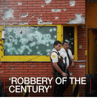 "25 APR: A huge robbery in Paraguay has sparked gun battles in the city of Ciudad del Este and in neighbouring Brazil. The gang blew up the vaults of a security firm stealing up to $40m (£31m; €37m) in what Paraguayan officials are calling ""the robbery of the century"". They set fire to cars and attacked a local police station to create a diversion in a bid to get away across the border. Brazilian police exchanged gunfire with members of the gang in a two-hour shootout. A police officer and three gang members were killed, but the majority of the gang escaped. A security operation is under way both sides of the border to catch them. For more on this story go to:bbc.in-paraguayrobbery Paraguay Brazil Robbery Robbers BBCNews BBCShorts @bbcnews: ROBBERY OF THE  CENTURY' 25 APR: A huge robbery in Paraguay has sparked gun battles in the city of Ciudad del Este and in neighbouring Brazil. The gang blew up the vaults of a security firm stealing up to $40m (£31m; €37m) in what Paraguayan officials are calling ""the robbery of the century"". They set fire to cars and attacked a local police station to create a diversion in a bid to get away across the border. Brazilian police exchanged gunfire with members of the gang in a two-hour shootout. A police officer and three gang members were killed, but the majority of the gang escaped. A security operation is under way both sides of the border to catch them. For more on this story go to:bbc.in-paraguayrobbery Paraguay Brazil Robbery Robbers BBCNews BBCShorts @bbcnews"