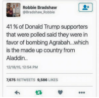 'MERICA: Robbie Bradshaw  @Bradshaw Robbie  41 of Donald Trump supporters  that were polled said they were in  favor of bombing Agrabah...which  is the made up country from  Aladdin  12/18/15, 12:54 PM  7.675  RETWEETS  9,586  LIKES 'MERICA
