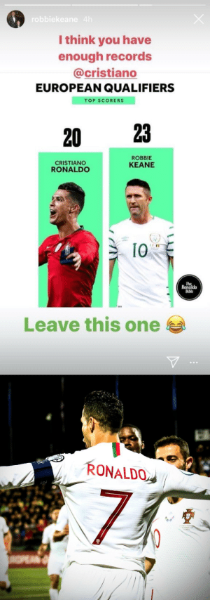 Robbie Keane posted this picture earlier today as he was the record holder.  Cristiano Ronaldo then went and scored FOUR goals tonight to become the top goalscorer of all time in European qualifiers with 24 goals. This is why you shouldn't tempt fate. 😂🇵🇹👑 https://t.co/NfeqPlAQYl: robbiekeane 4h  I think you have  enough records  @cristiano  EUROPEAN QUALIFIERS  TOP SCORERS  23  20  ROBBIE  CRISTIANO  RONALDO  KEANE  I0  The  Ronaldo  Bible  Leave this one   RONALDO  AA GAL  SETEMORD 20  NIUS  INPEAN Robbie Keane posted this picture earlier today as he was the record holder.  Cristiano Ronaldo then went and scored FOUR goals tonight to become the top goalscorer of all time in European qualifiers with 24 goals. This is why you shouldn't tempt fate. 😂🇵🇹👑 https://t.co/NfeqPlAQYl