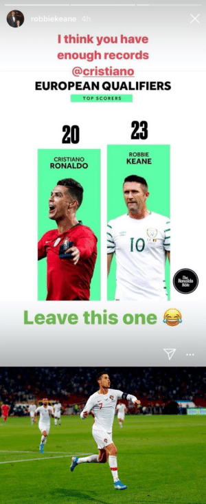 Robbie Keane posted this picture on his Instagram earlier today as he held the record for most goals in European qualifiers.  Cristiano Ronaldo scored 4 goals tonight to break his record. Man wants all records for himself. https://t.co/xufkCgW5ni: robbiekeane 4h  I think you have  enough records  @cristiano  EUROPEAN QUALIFIERS  TOP SCORERS  23  20  ROBBIE  CRISTIANO  RONALDO  KEANE  10  The  Ronaldo  Bible  Leave this one Robbie Keane posted this picture on his Instagram earlier today as he held the record for most goals in European qualifiers.  Cristiano Ronaldo scored 4 goals tonight to break his record. Man wants all records for himself. https://t.co/xufkCgW5ni