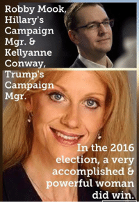 """(MW) Sadly, I've heard """"sexism"""" all morning.   AMERICANS decided this Trump win & many of them happen to be great American women.: Robby Mook,  Hillary's  Campaign  Mgr.  Kellyanne  Conway,  Trump's  Campaign  Mgr.  In the 2016  election, a very  accomplished &  powerful woman  did win (MW) Sadly, I've heard """"sexism"""" all morning.   AMERICANS decided this Trump win & many of them happen to be great American women."""