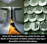 Beautiful, Dogs, and Soldiers: Robe of Dead Soldiers by artist Do-Ho suh-  Made of thousand of fallen soldiers dog tags  Beautiful and heartbreaking.