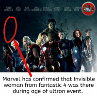 Memes, Shit, and Marvel: ROBERT CHRIS MARK CHRIS SCARLETT JEREMY AARON ELIZABETH  DOWNEY JR. EVANS RUFFALO HEMSWORTH JOHANSSON RENNER JOHNSON OLSEN MARVEL  ACT FICES  Marvel has confirmed that Invisible  woman from fantastic 4 was there  during age of ultron event. This is the pure shit!! 😂😂😂😂