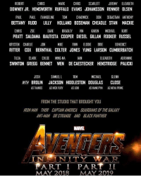 ROBERT  CHRIS  MARK  CHRIS  SCARLETT  JEREMY ELIZABETH  DOWNEY JR. HEMSWORTH RUFFALO EVANS JOHANSSON RENNER OLSEN  PAUL  PAUL EVANGELINE  TOM  CHADWICK  DON SEBASTIAN ANTHONY  BETTANY RUDD LILLY HOLLAND BOSEMAN CHEADLE STAN MACKIE  CHRIS  ZOE  DAVE  BRADLEY  VIN  KAREN  MICHAEL  KURT  PRATT SALDANA BAUTISTA COOPER DIESEL GILLAN ROOKER RUSSEL  BENEDICT  KRYSTEN CHARLIE  JON  MIKE  FINN  ELODIE  BRIE  RITTER COX BERNTHAL COLTER JONES YUNG LARSON CUMBERBATCH  TILDA  CLARK CHLOE MING-NA  ELIZABETH  ADRIANNE  AIN  SWINTON GREGG BENNET WEN DE CAESTECKER HENSTRIDGE PALICKI  JOSH  SAMUEL L  TOM  MICHAEL  GLENN  WITH BROLIN JACKSON HIDDLESTON DOUGLAS CLOSE  AS THANOS AS NICK FURY  AS LOKI  AS HANK PYM  AS NOVA PRIME  FROM THE STUDIO THAT BROUGHT YOU  IRONMAN THOR CAPIAINAMERICA GUARDIANS THE GALAXY  AN-MAN ORSTRANGE AND BLACK PANTHER  INIT  I IN  ART I PART II  MAY 2018  MAY 2019 LOOK AT IT OMG I AM CRYING I'd like to thank Jesus, Marvel, and my cat💘 This is it guys, the final chapter. After this movie the original avengers will only have cameos and small roles in other movies and won't be seen together as an actual group🙂🙂🙂 - - marvel avengersinfinitywar avengers cast