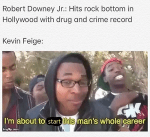 Crime, Marvel Comics, and Robert Downey Jr.: Robert Downey Jr.: Hits rock bottom in  Hollywood with drug and crime record  Kevin Feige:  I'm about to start this man's whole career  ingfip.com Everybody deserves a second chance.