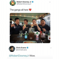 Chris Evans, Goals, and Memes: Robert Downey Jr  @RobertDowneyJr  The gangs all here  @will_ent  Chris Evans  @ChrisEvans  @RobertDowneyJr Wow Squad goals