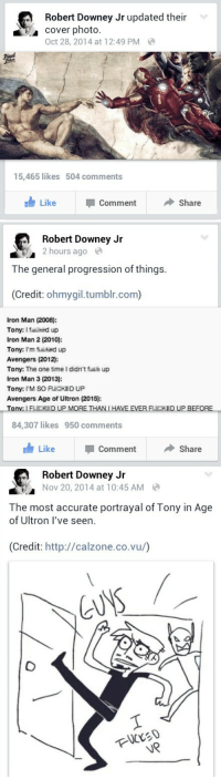Avengers Age of Ultron, Internet, and Iron Man: Robert Downey Jr updated their  cover photo.  Oct 28, 2014 at 12:49 PM  15,465 likes  504 comments  Like  Comment  ◆ Share   Robert Downey Jir  2 hours ago  The general progression of things.  (Credit: ohmygil.tumblr.com)  Iron Man (2008):  Tony: Ifid up  Iron Man 2 (2010):  Tony: I'm find up  Avengers (2012):  Tony: The one time I didn't f up  Iron Man 3 (2013):  Tony: I'M SO FUCID UP  Avengers Age of Ultron (2015):  on  84,307 likes  950 comments  Like  Comment  Share   Robert Downey Jr  Nov 20, 2014 at 10:45 AM  The most accurate portrayal of Tony in Age  of Ultron I've seen.  (Credit: http://calzone.co.vu/)  UR <h2>Robert Downey Jr haciendo de las suyas</h2><p>Y sí, en internet se le adora porque le gustan los gatos</p>