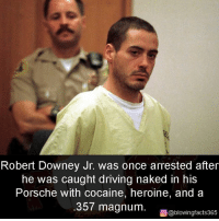 Robert Downey Jr: Robert Downey Jr. was once arrested after  he was caught driving naked in his  Porsche with cocaine, heroine, and a  357 magnum.  回@blowingfacts365
