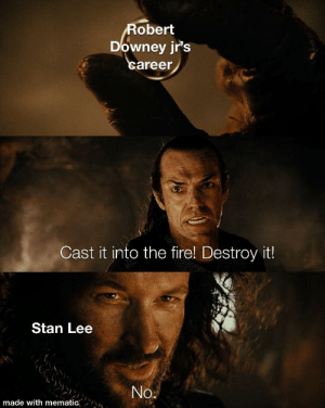 Merry Christmas you filthy animal: Robert  Downey jr's  career  Cast it into the fire! Destroy it!  Stan Lee  No.  made with mematic Merry Christmas you filthy animal