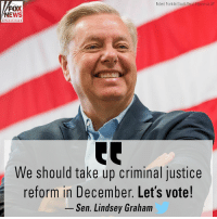 Friday, Memes, and News: Robert Franklin/South Bend Tribune via AP  FOX  NEWS  channel  We should take up criminal justice  reform in December. Let's vote!  Sen. Lindsey Graham In a tweet Friday, Sen. Lindsey Graham said he agreed with President @realdonaldtrump's call for a Senate vote on criminal justice reform.