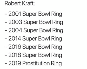 I see nothing wrong with a man just trynna shoot a rope.: Robert Kraft:  2001 Super Bowl Ring  2003 Super Bowl Ring  2004 Super Bowl Ring  2014 Super Bowl Ring  2016 Super Bowl Ring  2018 Super Bowl Ring  2019 Prostitution Ring I see nothing wrong with a man just trynna shoot a rope.