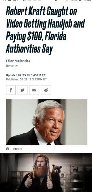 I see this as an absolute win: Robert Kraft Caught on  Video Getting Handjoh and  Paying $100, Florida  Authorities Say  Pilar Melendez  Reporter  Updated 02.25.19 6:45PM ET  Publishec 02.25.19 3:33PM ET  f  HCuters I see this as an absolute win