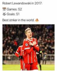 Goals, Memes, and Best: Robert Lewandowski in 2017:  ng  Games: 52  Goals: 51  Best striker in the world. Is he the best striker in the world?