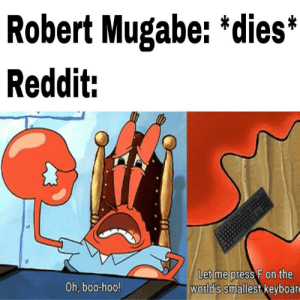 Fuck this guy, seriously: Robert Mugabe: *dies*  Reddit:  Let me press F on the  world's smallest keyboar  Oh, boo-hoo! Fuck this guy, seriously