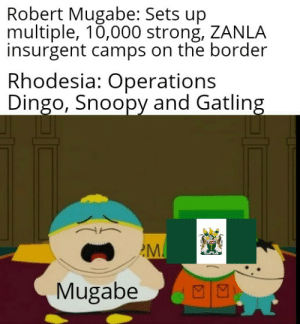 Burn hell you tyrant: Robert Mugabe: Sets up  multiple, 10,000 strong, ZANLA  insurgent camps on the border  Rhodesia: Operations  Dingo, Snoopy and Gatling  M.  Mugabe  NA Burn hell you tyrant
