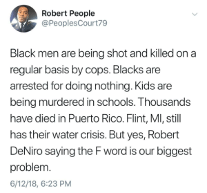 Dank, Memes, and Target: Robert People  @PeoplesCourt79  Black men are being shot and killed on a  regular basis by cops. Blacks are  arrested for doing nothing. Kids are  being murdered in schools. Thousands  have died in Puerto Rico. Flint, Ml, still  has their water crisis. But yes, Robert  DeNiro saying the F word is our biggest  problem  6/12/18, 6:23 PM This man is very wise by ap4590 FOLLOW HERE 4 MORE MEMES.