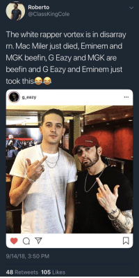 Alive, Blackpeopletwitter, and Eminem: Roberto  @ClassKingCole  The white rapper vortex is in disarray  rn. Mac Miler just died, Eminem and  MGK beefin, G Eazy and MGK are  beefin and G Eazy and Eminem just  took this  g eazy  9/14/18, 3:50 PM  48 Retweets 105 Likes