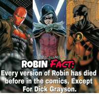 Batman, Memes, and Superman: ROBIN FACT  Every version of Robin has died  before in the comics, Except  For Dick Grayson. Read the CAPTION Before you rush to the keyboard and comment INJUSTICE (1. Not canon, 2. HE wasn't robin he was nightwing) jason, Tim , Damian were robins at the time. @dccomics do it and I'm switching to @marvel . dc dccomics dceu dcu dcrebirth dcnation dcextendeduniverse batman superman manofsteel thedarkknight wonderwoman justiceleague cyborg aquaman martianmanhunter greenlantern theflash greenarrow suicidesquad thejoker harleyquinn comics