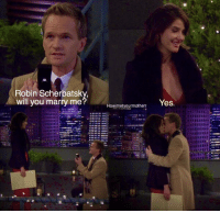 One of greatest HIMYM moments of all time https://t.co/SD9Df8qzCx: Robin Scherbatsky  will you marry me  Yes.  Howimetyourmotherr One of greatest HIMYM moments of all time https://t.co/SD9Df8qzCx