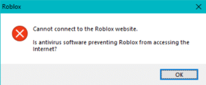 Uninstalling Roblox: Roblox  Cannot connect to the Roblox website.  Is antivirus software preventing Roblox from accessing the  Internet?  OK  w  (X Uninstalling Roblox