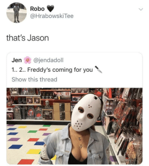 It's spooky season by Goal1 MORE MEMES: Robo  @HrabowskiTee  that's Jason  Jen @jendadoll  1.. 2.. Freddy's coming for you  Show this thread  IT It's spooky season by Goal1 MORE MEMES