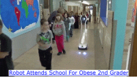 School, Robot, and For: Robot Attends School For Obese 2nd Grader