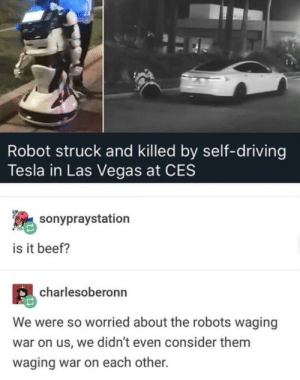 wE never even cOnsidered it: Robot struck and killed by self-driving  Tesla in Las Vegas at CES  sonypraystation  is it beef?  charlesoberonn  We were so worried about the robots waging  war on us, we didn't even consider them  waging war on each other. wE never even cOnsidered it