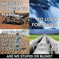 Memes, Smh, and Mars: ROBOTS  TO  MARS  TO LOOK  FOR WATE  AND WE  EVEN FIGURE  OUT HOWTO  SURE NO  PROBLEM  IT'S NEEDED  ARE WE STUPID OR BLIND? Smh