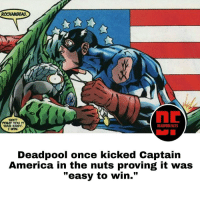 "Memes, Deadpool, and Easy A: ROCHAMBEAU.  SEER  TOLD YOU IT  DEADPOOLFACTS  WAS EASY,  A  I WIN.  Deadpool once kicked captain  America in the nuts proving it was  ""easy to win."" heh gotta love Deadpool ... it's not cheating just winning tactics. deadpoolnation deadpoolfacts wadewilson captainamerica steverogers mercwithamouth"