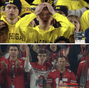 Guys I think I found his evil twin: ROCHES  7 Mich St 60  21  12 Michigan 5-1  23  HIGA  :00  4th  OHIC  EIG  WE FODA  AYOFF  REVIEW RESULT  CALL REVERSED  2 OHID ST  14:14  3 ELEMSON Guys I think I found his evil twin