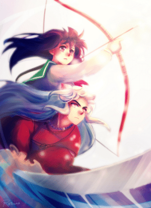 rocioo:  InuKagWeek Day 1- GROWTH The cooolest thing is when they fight together, but the coolness took some time to achieve. - Throwback to when Inuyasha dropped Kagome after she missed her target in ep 2 of the anime - : rocioo:  InuKagWeek Day 1- GROWTH The cooolest thing is when they fight together, but the coolness took some time to achieve. - Throwback to when Inuyasha dropped Kagome after she missed her target in ep 2 of the anime -