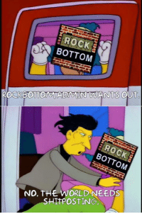 Doe, Memes, and Shit: ROCK  BOTTOM  ROCKBOTTOMAADATN WANTS OU  BOTTO  NO, THE WORLD NEEDS  SHIT POSTING It really does ;)