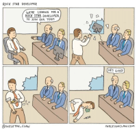 Definitely doing this at my next meeting. 🤘🏼: ROCK STAR DEVELOPER  WE'RE LOOKING FOR A  ROCK STAR DEVELOPER  TO JOIN OUR TEAM  llt  0  HES GOOD!  @sKELETON- CLAW  SKELE TONCLAW.COm Definitely doing this at my next meeting. 🤘🏼