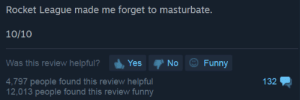 How to know for certain, when to buy a game.: Rocket League made me forget to masturbate.  10/10  No Funny  Was this review helpful? Ys  4,797 people found this review helpful  12,013 people found this review funny  132 How to know for certain, when to buy a game.