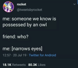 Meirl: rocket  @tweetsbyrocket  me:someone we know is  possessed by an owl  friend: who?  me: [narrows eyes]  12:57 20 Jul 19 Twitter for Android  18.1K Retweets 80.3K Likes Meirl