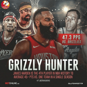 Advice, Memphis Grizzlies, and James Harden: ROCKETS  47.3 PPG  VS. GRIZZLIES  RO K  GRIZZLY HUNTER  JAMES HARDEN IS THE 4TH PLAYER IN NBA HISTORY TO  AVERAGE 45+ PTS VS. ONE TEAM IN A SINGLE SEASON  HIT JUSTIN KUBATKO  BETONLINE AG  CLUTCHPOェ TS Expert Advice: Take James Harden's over every single time he plays the Grizzlies 💰 __ Follow @rocketsnationcp if you're a real Rockets fan! @betonline_ag